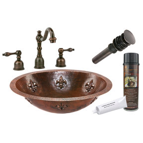 Premier Copper Products - BSP2_LO19FFLDB Bathroom Sink, Faucet and Accessories Package