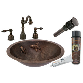 Premier Copper Products - BSP2_LO19FKOIDB Bathroom Sink, Faucet and Accessories Package