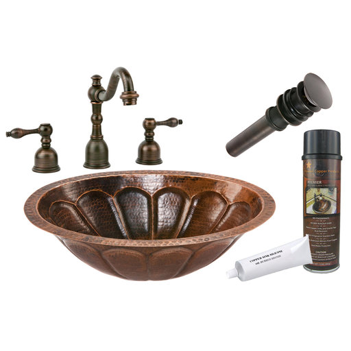 View a Larger Image of Premier Copper Products - BSP2_LO19FSBDB Bathroom Sink, Faucet and Accessories Package
