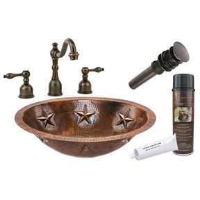 Premier Copper Products - BSP2_LO19FSTDB Bathroom Sink, Faucet and Accessories Package
