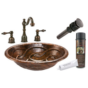 Oval Braid Self Rimming Hammered Copper Sink, Faucet and Accessories Package, Oil Rubbed Bronze