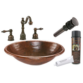 Premier Copper Products - BSP2_LO19RDB Bathroom Sink, Faucet and Accessories Package