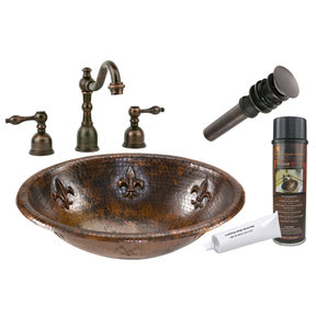 Oval Fleur De Lis Self Rimming Hammered Copper Sink, Faucet and Accessories Package, Oil Rubbed Bronze