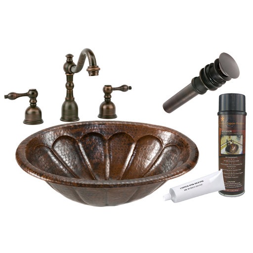 View a Larger Image of Oval Sunburst Self Rimming Hammered Coopper Sink, Faucet and Accessories Package, Oil Rubbed Bronze