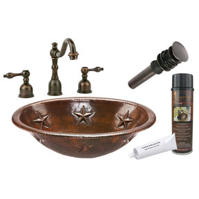 Premier Copper Products - BSP2_LO19RSTDB Bathroom Sink, Faucet and Accessories Package