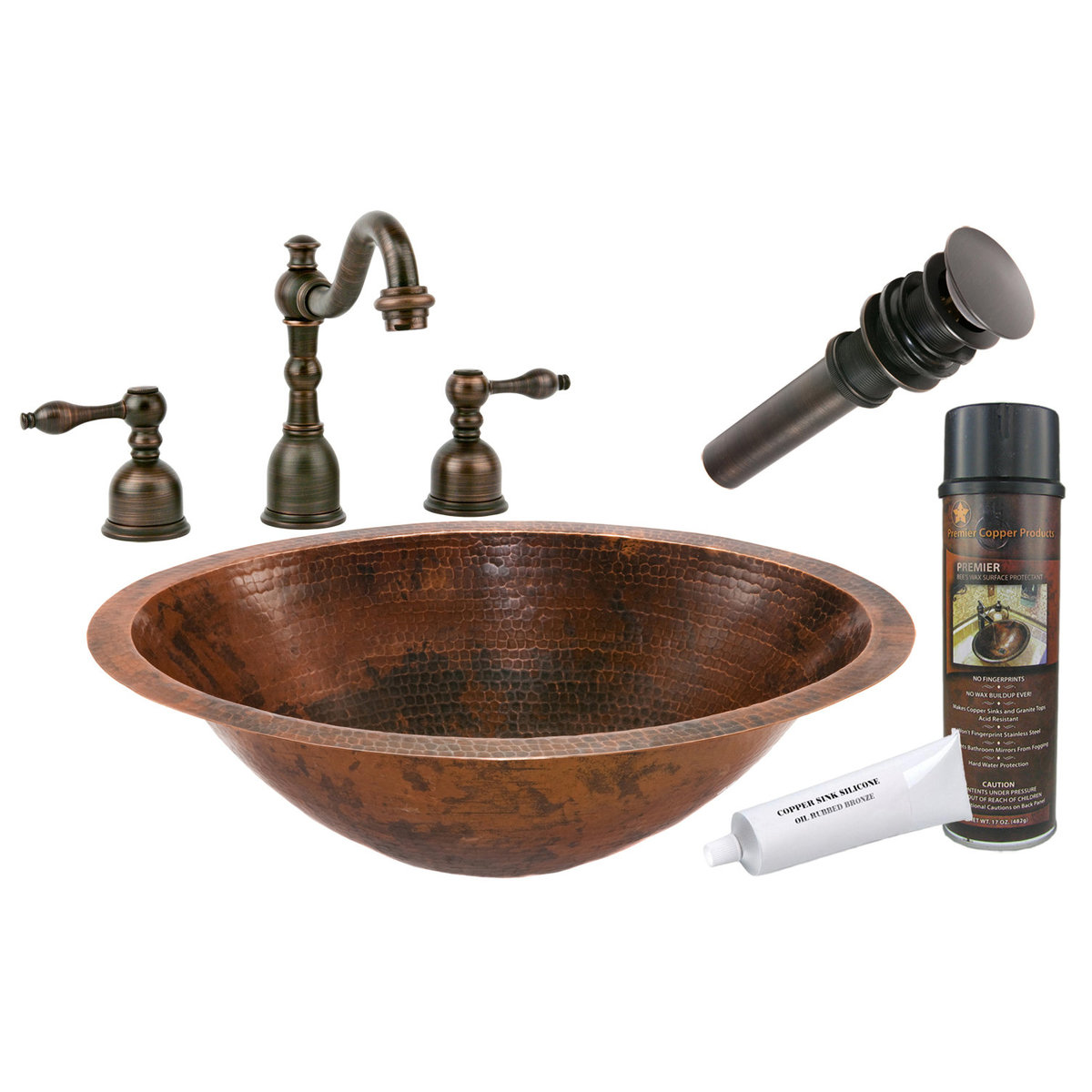 Picture of: Premier Copper Products Master Bath Oval Under Counter Hammered Copper Bathroom Sink Faucet And Accessories Package Oil Rubbed Bronze