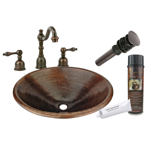 View a Larger Image of Premier Copper Products - BSP2_LO20RDB Bathroom Sink, Faucet and Accessories Package