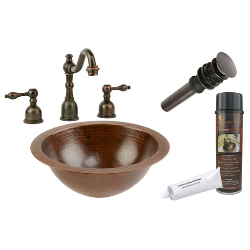 View a Larger Image of Premier Copper Products - BSP2_LR12FDB Bathroom Sink, Faucet and Accessories Package