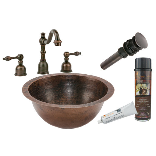 View a Larger Image of Small Round Under Counter Hammered Copper Sink, Faucet and Accessories Package, Oil Rubbed Bronze