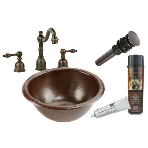 View a Larger Image of Premier Copper Products - BSP2_LR14RDB Bathroom Sink, Faucet and Accessories Package
