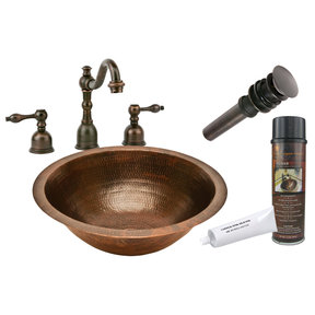 Premier Copper Products - BSP2_LR17FDB Bathroom Sink, Faucet and Accessories Package