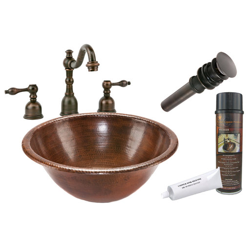 View a Larger Image of Round Self Rimming Hammered Copper Sink, Faucet and Accessories Package, Oil Rubbed Bronze
