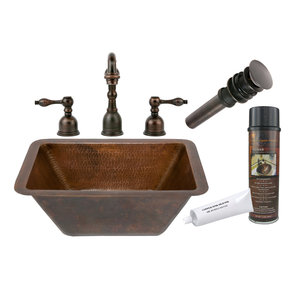Premier Copper Products - BSP2_LRECDB Bathroom Sink, Faucet and Accessories Package
