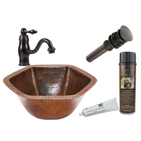 Hexagon Under Counter Hammered Copper Sink, Faucet and Accessories Package, Oil Rubbed Bronze