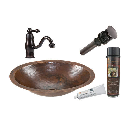 View a Larger Image of Premier Copper Products - BSP3_LO17FDB Bathroom Sink, Faucet and Accessories Package