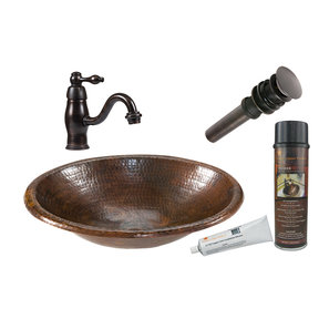Premier Copper Products - BSP3_LO17RDB Bathroom Sink, Faucet and Accessories Package