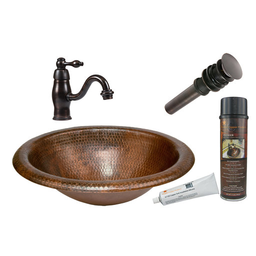 View a Larger Image of Premier Copper Products - BSP3_LO18RDB Bathroom Sink, Faucet and Accessories Package