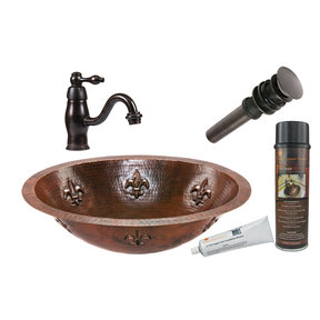 Oval Fleur De Lis Under Counter Hammered Copper Sink, Faucet and Accessories Package, Oil Rubbed Bronze