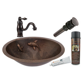 Premier Copper Products - BSP3_LO19FKOIDB Bathroom Sink, Faucet and Accessories Package