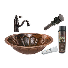 Premier Copper Products - BSP3_LO19FSBDB Bathroom Sink, Faucet and Accessories Package