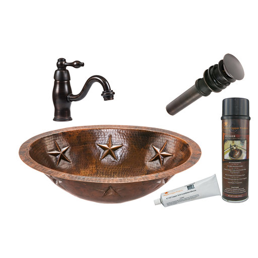 View a Larger Image of Premier Copper Products - BSP3_LO19FSTDB Bathroom Sink, Faucet and Accessories Package