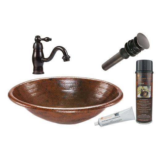 View a Larger Image of Premier Copper Products - BSP3_LO19RDB Bathroom Sink, Faucet and Accessories Package