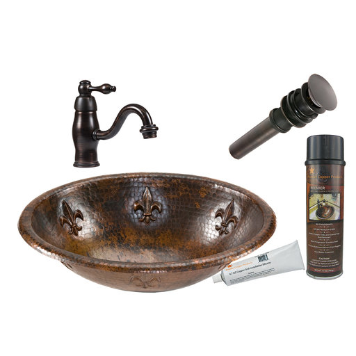 View a Larger Image of Premier Copper Products - BSP3_LO19RFLDB Bathroom Sink, Faucet and Accessories Package