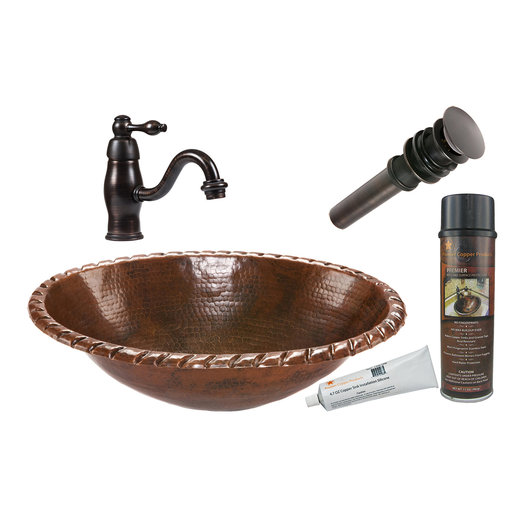 View a Larger Image of Premier Copper Products - BSP3_LO19RRDB Bathroom Sink, Faucet and Accessories Package