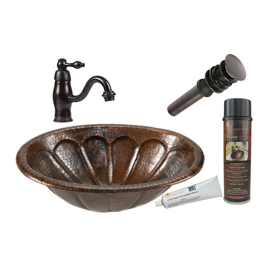 View a Larger Image of Premier Copper Products - BSP3_LO19RSBDB Bathroom Sink, Faucet and Accessories Package