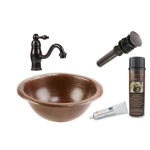 View a Larger Image of Small Round Self Rimming Hammered Copper Sink, Faucet and Accessories Package, Oil Rubbed Bronze