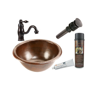 Premier Copper Products - BSP3_LR14RDB Bathroom Sink, Faucet and Accessories Package