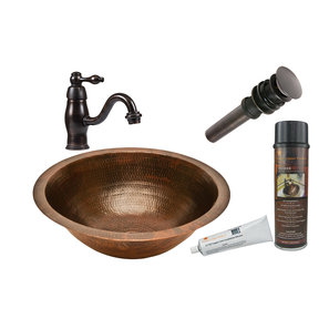 Round Under Counter Hammered Copper Sink, Faucet and Accessories Package, Oil Rubbed Bronze
