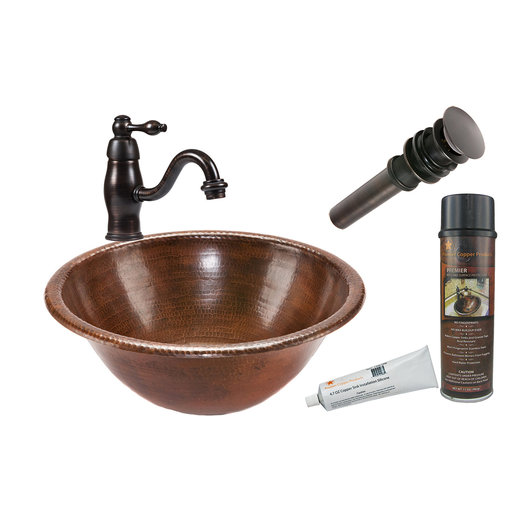 View a Larger Image of Round Self Rimming Hammered Copper Bathroom Sink, Faucet and Accessories Package, Oil Rubbed Bronze