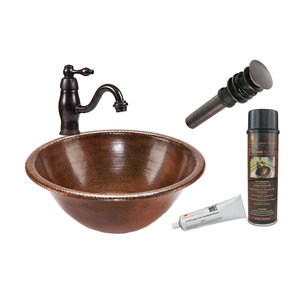 Premier Copper Products - BSP3_LR17RDB Bathroom Sink, Faucet and Accessories Package