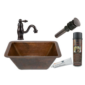 Premier Copper Products - BSP3_LRECDB Bathroom Sink, Faucet and Accessories Package