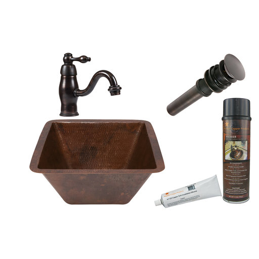 View a Larger Image of Square Under Counter Hammered Copper Bathroom Sink, Faucet and Accessories Package, Oil Rubbed Bronze