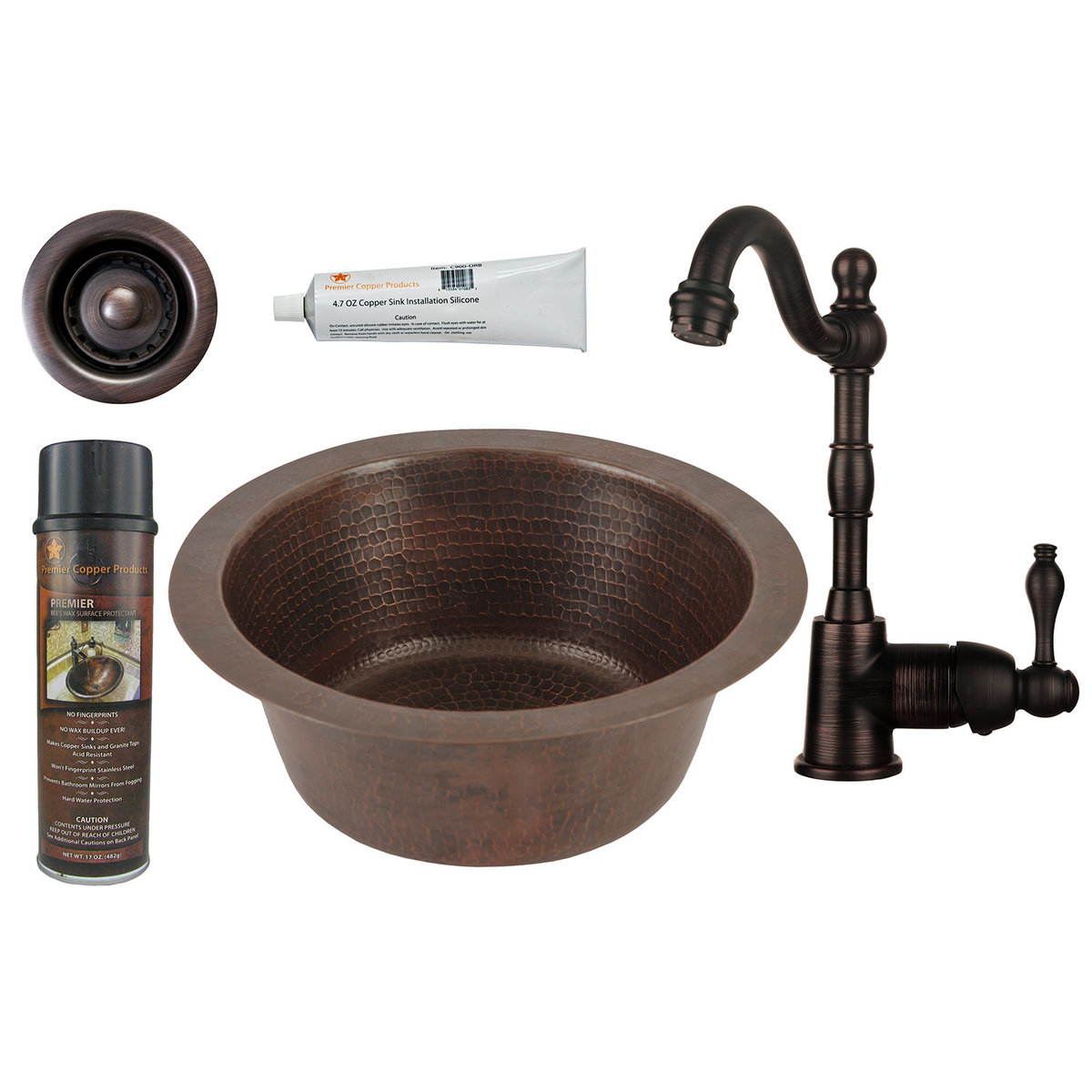 Premier Copper Products 12 Inch Round Hammered Copper Bar Sink With 2 Inch Drain Size Faucet And Accessories Package Oil Rubbed Bronze