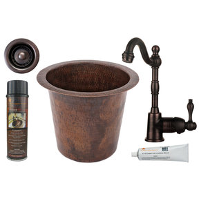 Premier Copper Products - BSP4_BR12WDB-B Bar/Prep Sink, Faucet and Accessories Package