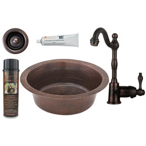 Premier Copper Products - BSP4_BR14DB2-B Bar/Prep Sink, Faucet and Accessories Package