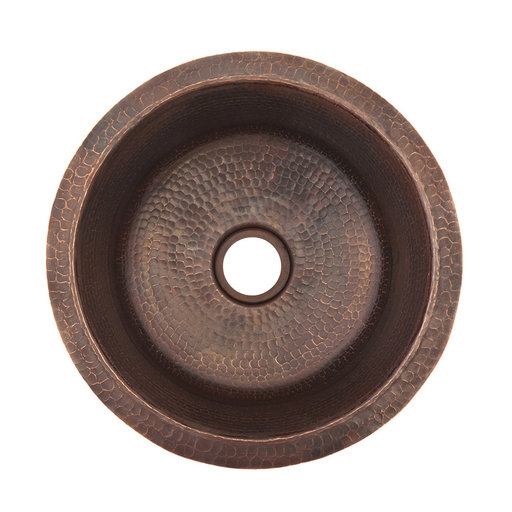 View a Larger Image of 14 inch Round Hammered Copper Bar Sink with 2 inch Drain Size, Faucet and Accessories Package, Oil Rubbed Bronze