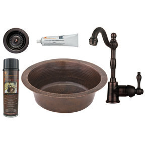 14 inch Round Hammered Copper Prep Sink with 3.5 inch Drain Size, Faucet and Accessories Package, Oil Rubbed Bronze