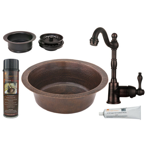 View a Larger Image of Premier Copper Products - BSP4_BR14DB3-G Bar/Prep Sink, Faucet and Accessories Package