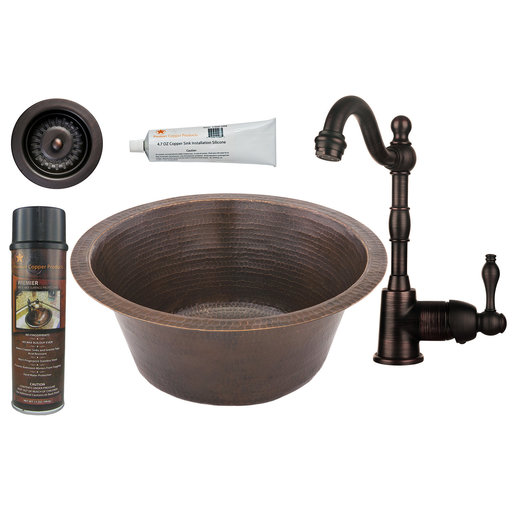 View a Larger Image of Premier Copper Products - BSP4_BR16DB3-D Bar/Prep Sink, Faucet and Accessories Package