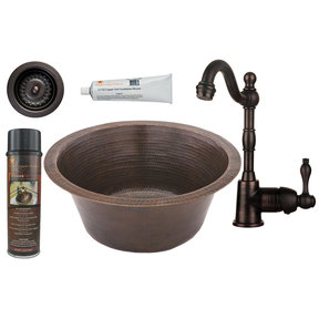 16 inch Round Hammered Copper Prep Sink with 3.5 inch Drain Size, Faucet and Accessories Package, Oil Rubbed Bronze