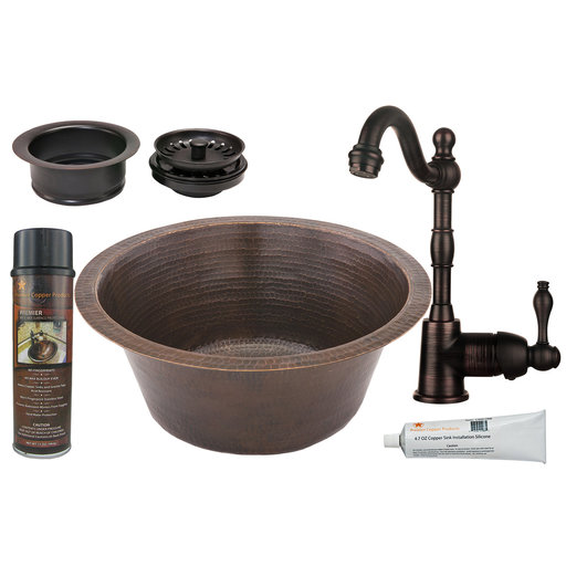 View a Larger Image of 16 inch Round Hammered Copper Prep Sink with 3.5 inch Drain Size, Faucet and Accessories Package, Oil Rubbed Bronze