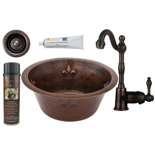 View a Larger Image of Premier Copper Products - BSP4_BR16FDB2-B Bar/Prep Sink, Faucet and Accessories Package