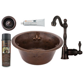 Premier Copper Products - BSP4_BR16FDB2-B Bar/Prep Sink, Faucet and Accessories Package