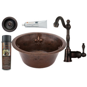 Premier Copper Products - BSP4_BR16FDB3-D Bar/Prep Sink, Faucet and Accessories Package