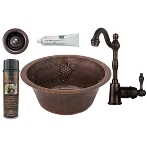 Premier Copper Products - BSP4_BR16GDB2-B Bar/Prep Sink, Faucet and Accessories Package