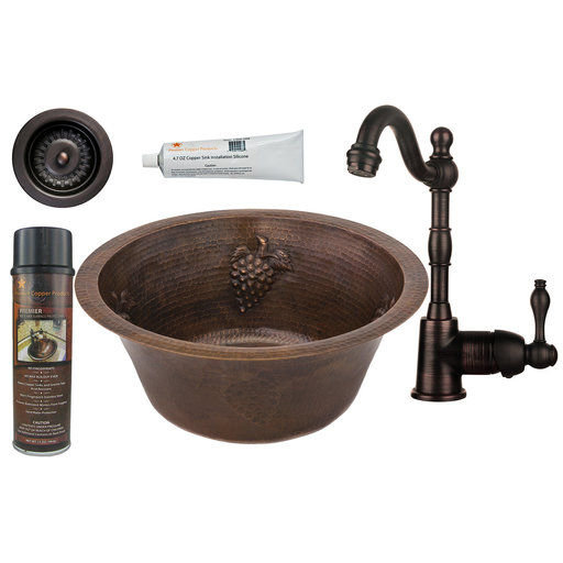 View a Larger Image of Premier Copper Products - BSP4_BR16GDB3-D Bar/Prep Sink, Faucet and Accessories Package